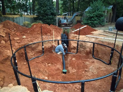 In ground trampoline with drainage system atlanta georgia for Ground drainage system